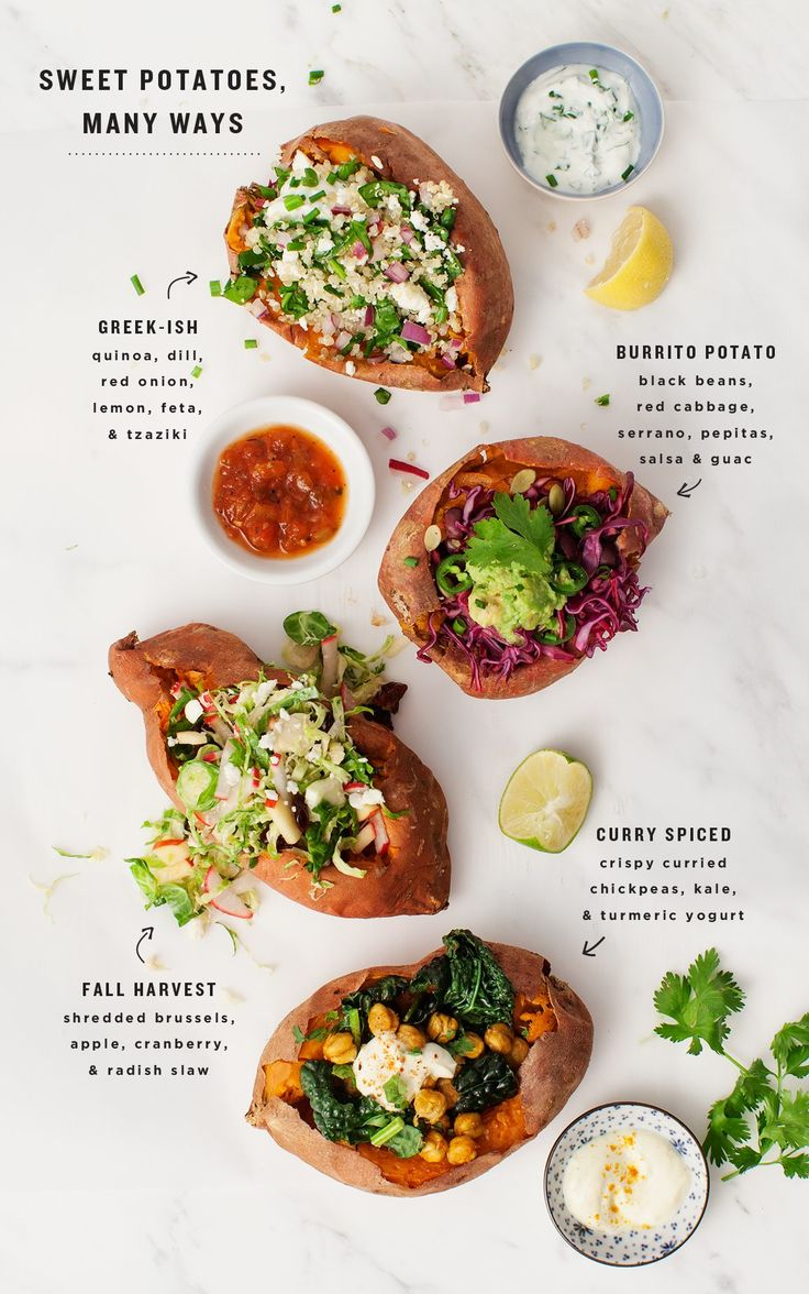Baked, stuffed sweet potatoes are the perfect healthy weeknight dinner. Here are four easy ways to stuff them! Vegetarian, gluten free, vegan options.