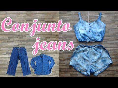 f70338e248791a Cropped jeans feito com pernas de calça jeans Diy - Suellen Redesign -  YouTube
