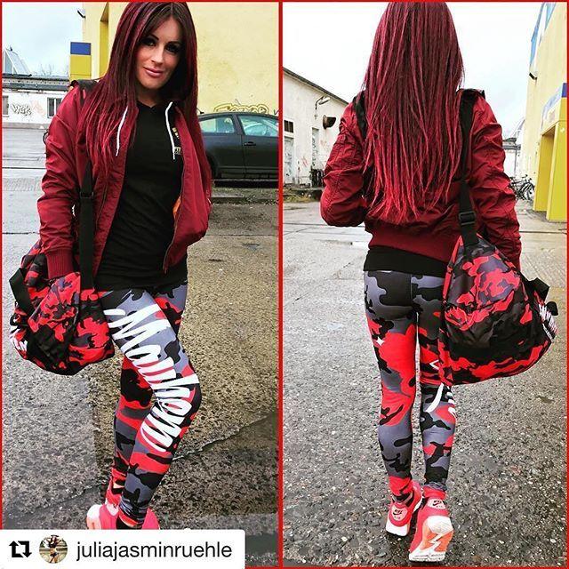 Juliajasminruehle Red Camo Leggings Red Camo Gymbag Get Your Badass Clothing Www Men Of Mayhem Com Badass Mayhem Clothing Sport Fitness Julia Jasmin