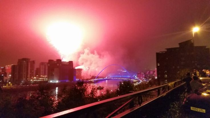Newcastle Quayside. Millionth runner Great North Run opening ceremony.