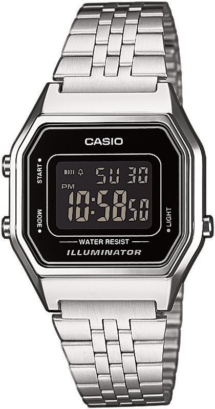 Casio Classic LA680WEA-1B LA680WEA-1BEF, Casio Silver & Black Retro Digital Watch for women