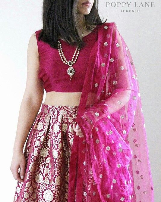 Brocade skirt with raw silk blouse