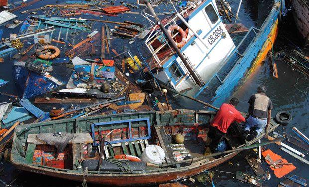 El puerto de Iquique esta mañana, despues del terremoto