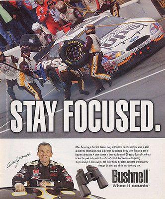 Dale Jarrett NASCAR Racing 2002 Bushnell Binoculars Ad UPS Goodyear