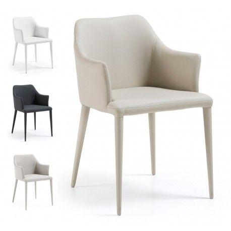 SILLA CON BRAZOS DANAI TAPIZADA EN PIEL SINTETICA O TELA Silla con brazos DANAI tapizada completamente en piel sintética o tejido de poliéster 100% y con la estructura de acero. Una silla con brazos realmente cómoda para integrarla en nuestro comedor.  Las medidas son: 54 cm. de ancho x 57 cm. de fondo x 80 cm. de altura. La altura del asiento es 47 cm. y la profundidad es 45 cm. El peso de cada silla es 7,1 kg. y admite un peso de carga de 130 kg.