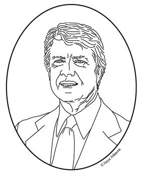 jimmy carter 39th president clip art coloring page or mini poster