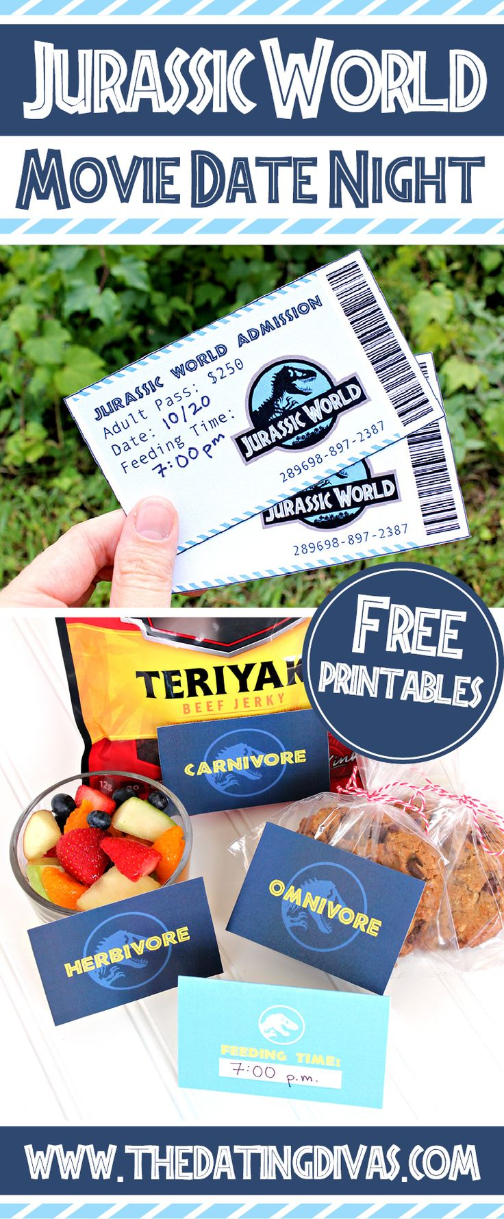 Jurassic World printables for a movie date night! Awesome way to make a movie date night more fun! www.TheDatingDivas.com