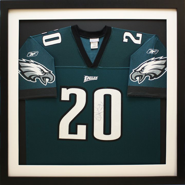 philadelphia eagles football jersey in custom sports shadowbox frame designed and custom framed at art frame express in edison nj