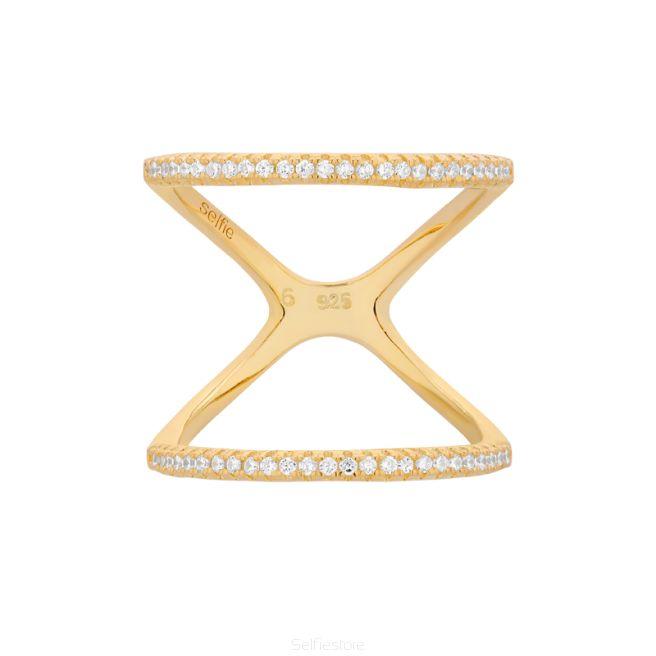 Pierścionek / eternity / cyrkonie / złocenie - Selfie Jewellery - Sklep Internetowy