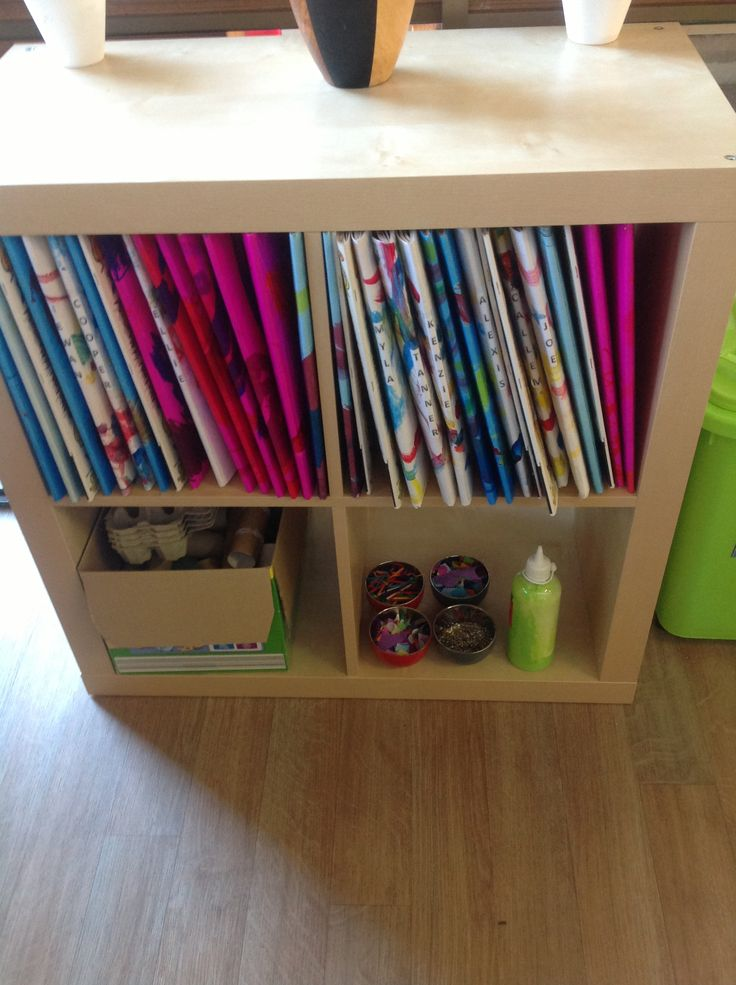 Collage material easily accessible by children