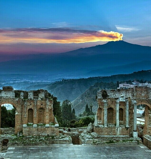 Italy ~ Etna from Taormina, Sicily Italy province of Messina