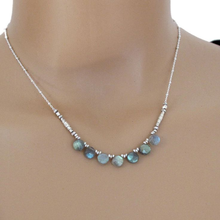 Labradorite Necklace Sterling Silver Coin Bead Chain DJStrang