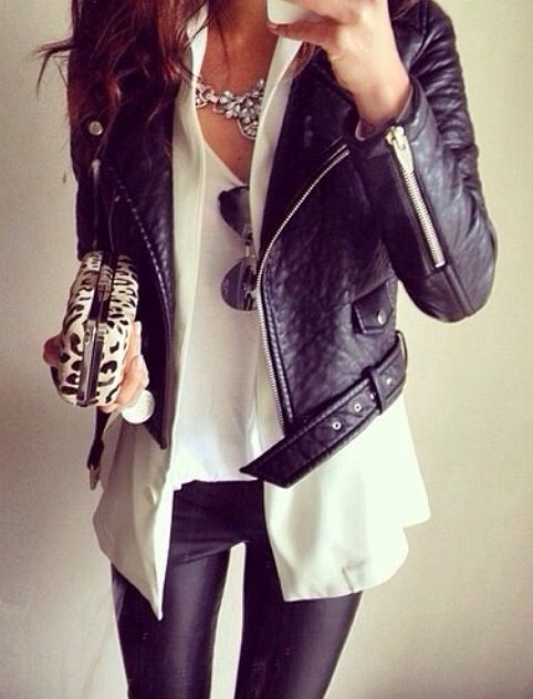 leather jacket and white tee - nice necklace. Would wear with jeans or dress pants.