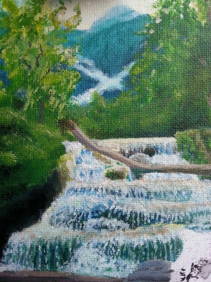 First few layers of the waterfall is done, not quite there yet but I'm taking my time.  Just been working on different bits. Got a slightly overwhelming there, as i haven't painted much in these last few months, but its getting better.   I love painting <3  I also habe a website if you want to checknit out, Http://raininglands.com #painting #artwork #art #workinprogress #paintingcloseup #paintinginprogress #acrylic #mountian #mountains #tree #trees #waterfall #rappids #creating #creatingart