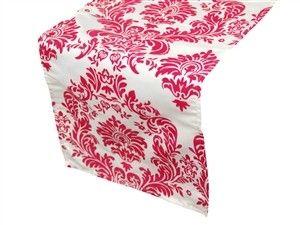 Damask Hot Pink & White Table Runner $9.95