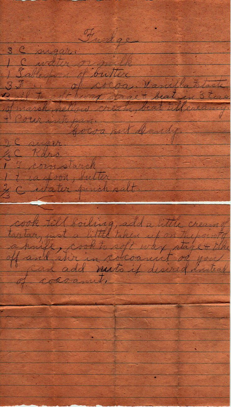 yesterdish.com » Fudge and Coconut Candy: Wonder Recipes, Handwritten Recipes, Time Recipes, Grandma Recipes, Handwritten And Recipes, Recipes Handwritten, Families Recipes, Vintage Recipes Ads