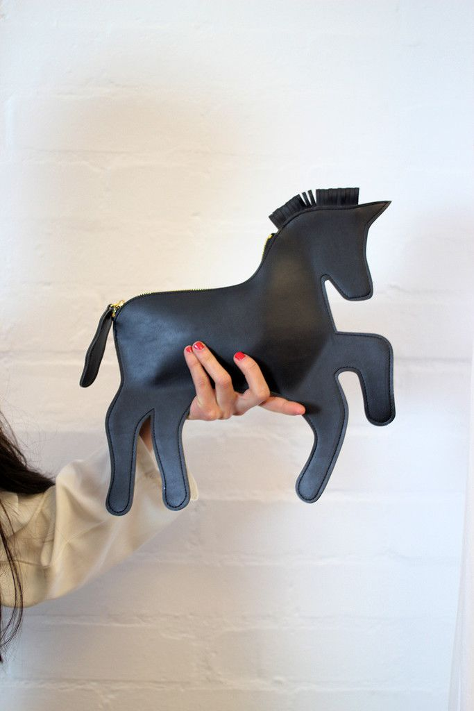 Black Unicorn Clutch Bag