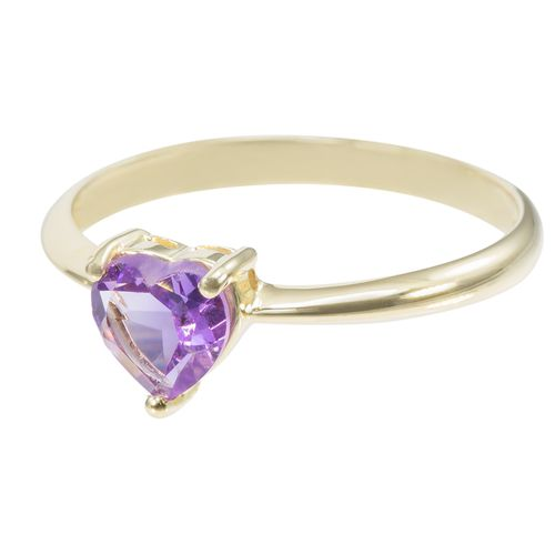 9ct Yellow Gold Amethyst Heart Solitaire Ring only $99 - purejewels.com.au