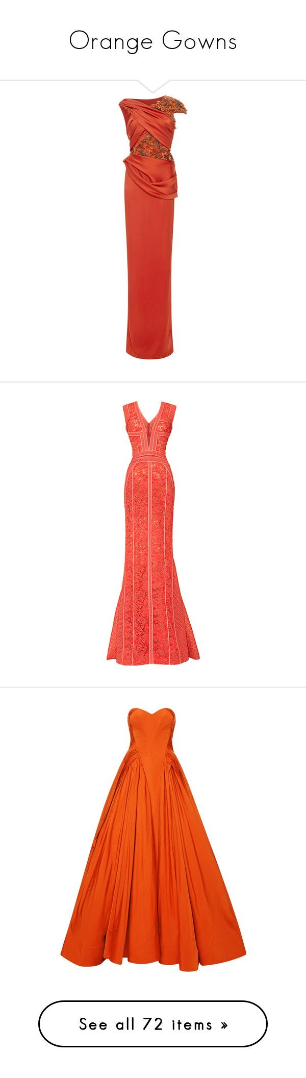 """Orange Gowns"" by sakuragirl ❤ liked on Polyvore featuring dresses, gowns, gown, red embroidered dress, marchesa gowns, marchesa dresses, embroidered dress, red gown, long dresses and vestidos"