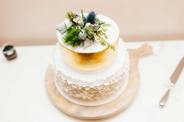 AMY   MATT featured on Hello May. weddings at tiffanys, gold leaf, ruffle cake