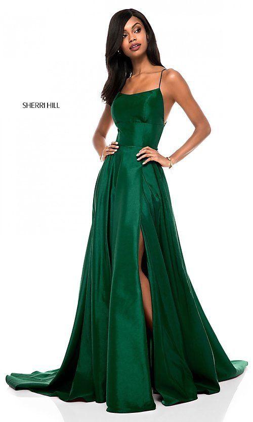 Square-Neck Sherri Hill Prom Dress with Open