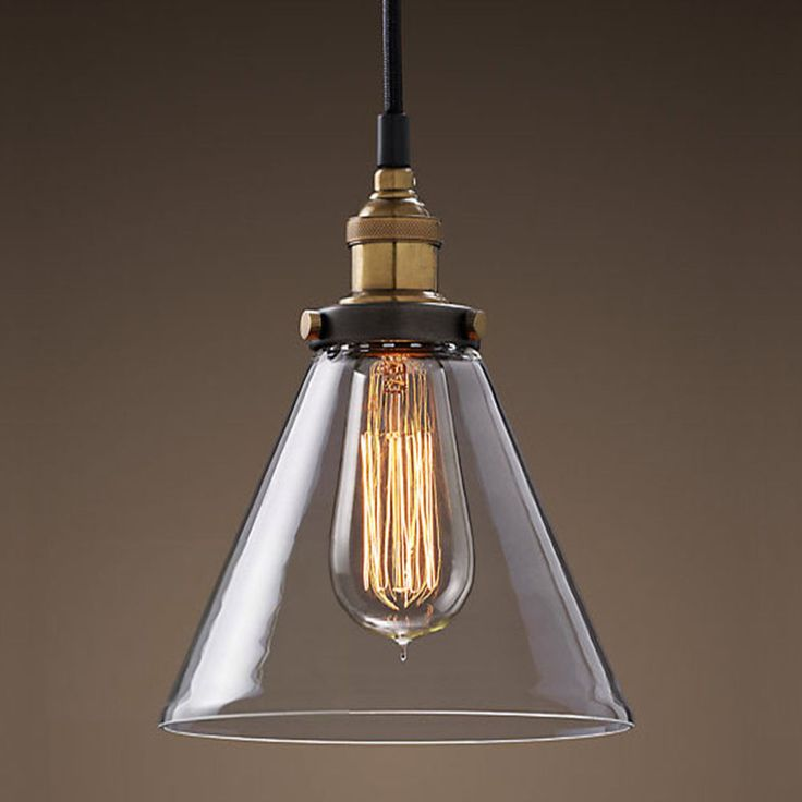 Modern Vintage Industrial Metal Glass Ceiling Light Shade Pendant Light Bulb