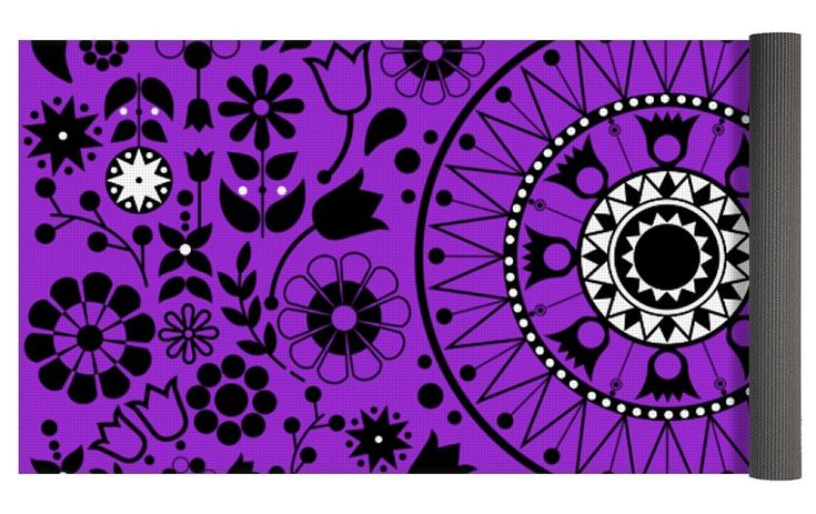 Tapiz Flores Y Aves Black And White Yoga Mat for Sale by Karina Rondon