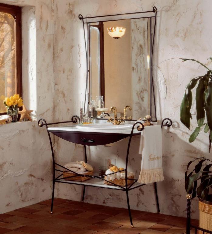 973,13 €  Mueble de baño rústico modelo Forja de 80 cm.    El conjunto incluye mármol con regleta italiano, espejo con aplique decorado y estante de mármol.