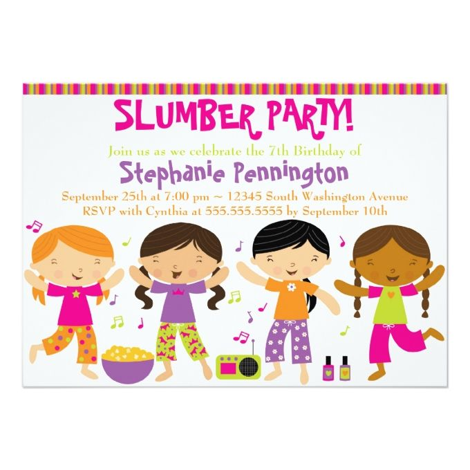 1222 best girl birthday invitations images on pinterest girl cute fun girls birthday slumber party invitation filmwisefo