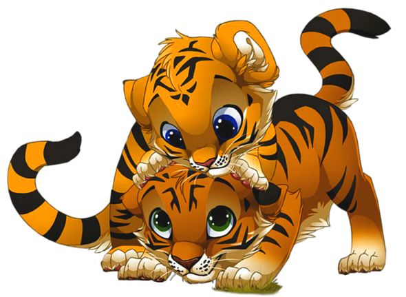 Cute Little Tigers PNG Cartoon Clipart