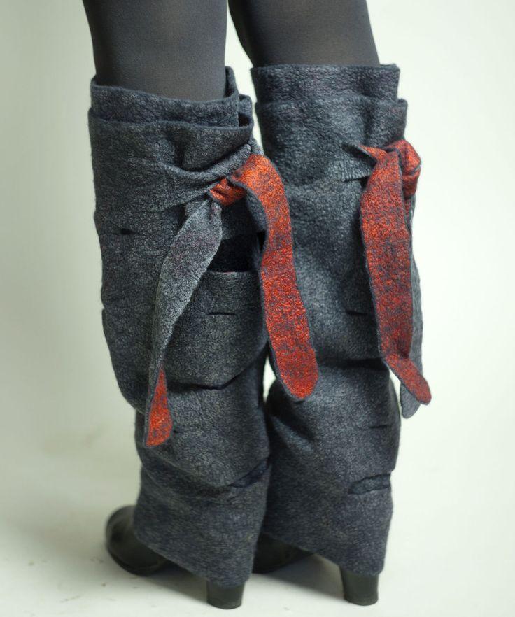 Купить Серые валяные гетры - гетры женские, теплые гетры, зимние аксессуары, шерстяные носки