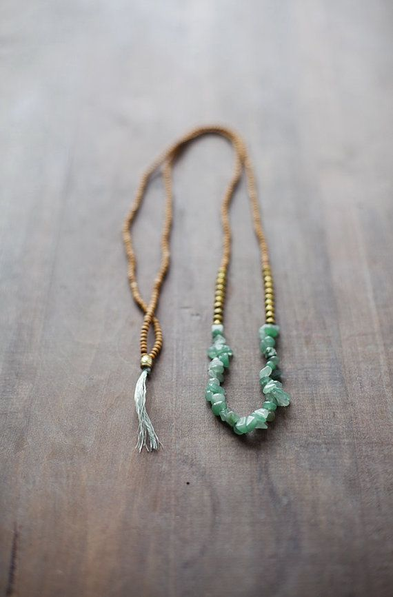 Mixed Media Boho Necklace /  Green  Golden  Brown by BlueBirdLab