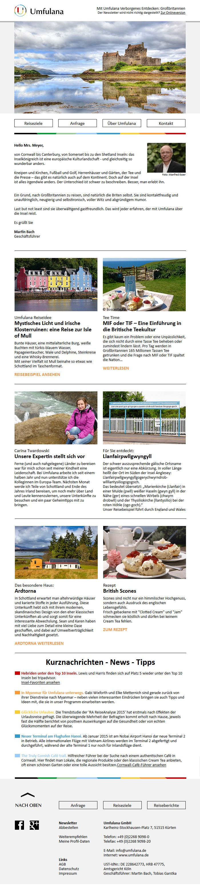 Neues #Newsletter-#Design aus unserer Grafikabteilung für das Touristikunternehmen Umfulana #Trends  #Newsletterdesign #Email #Emailmarketing