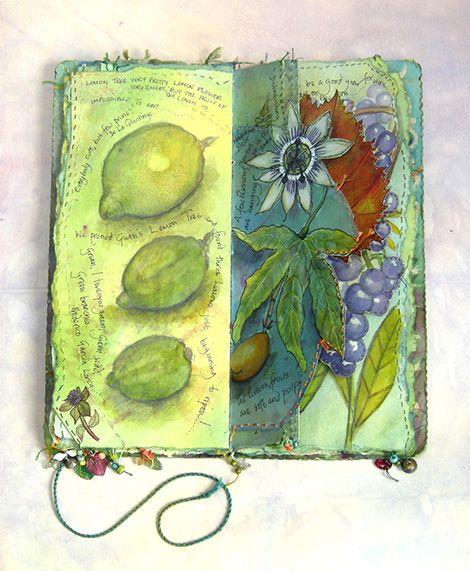 Garden Journal lemons and passion flowers spread, with illustration and stitch (click to enlarge)