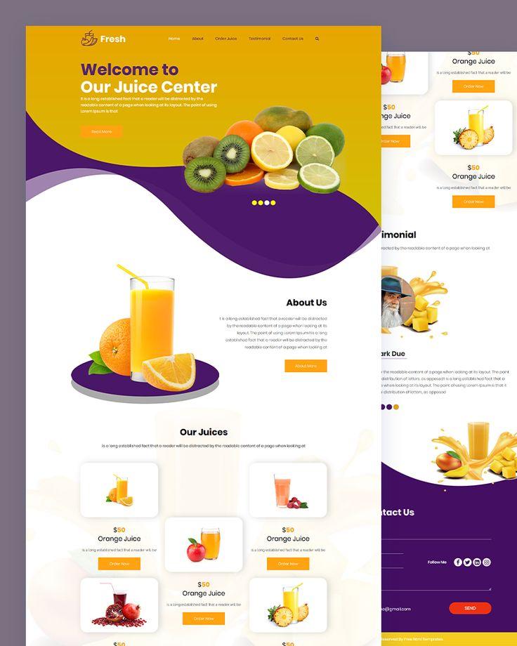Fresh Juice Shop Html Template Html Templates Juice Menu Juice Branding