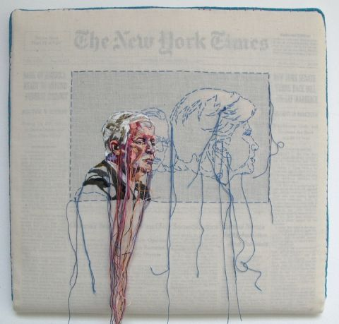 Hand-embroidered newspapers by Lauren DiCioccio