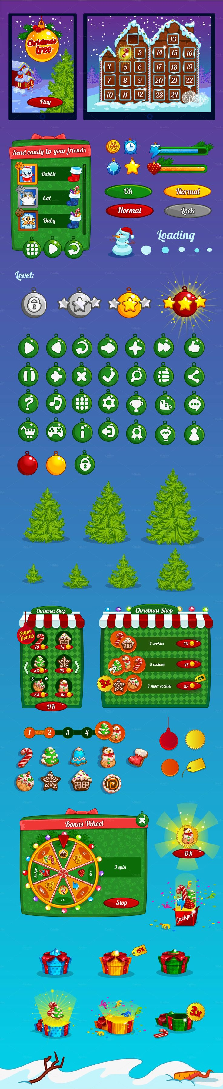 Christmas game interface by Game interface store on Creative Market