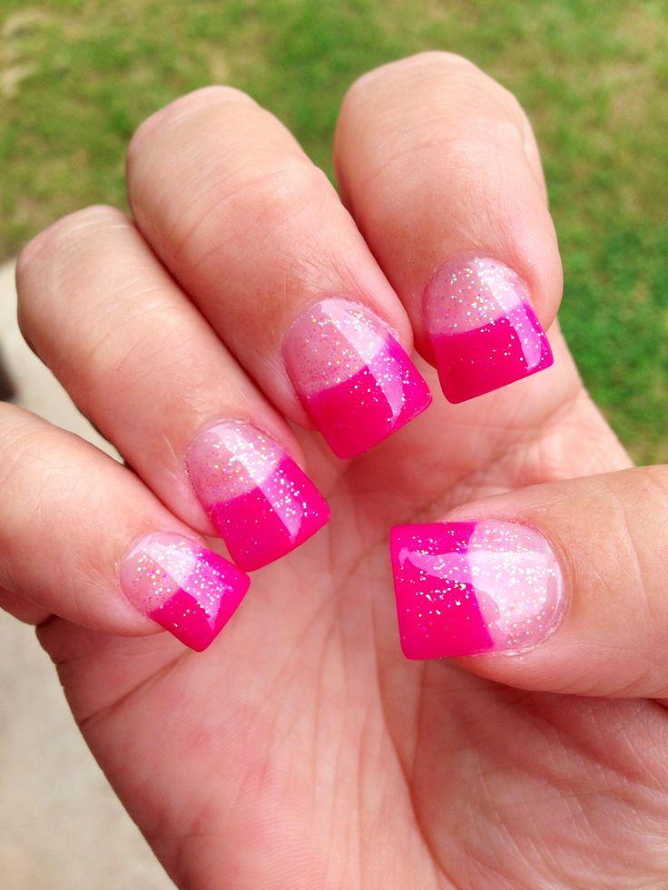 Pink w/ glitter solar nails