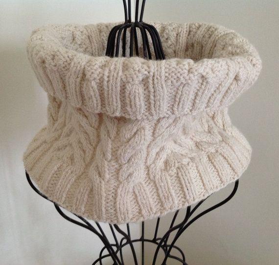Knit Cowl  Aran Fisherman Knit by Arly on Etsy, $55.00