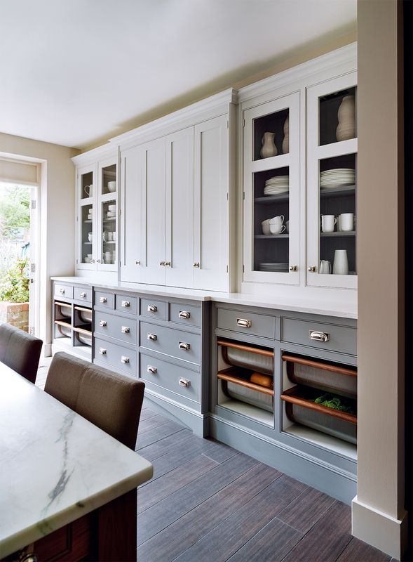 Painted wall, painted lower cabinets, painted inside cabinets. This is exactly what I want.