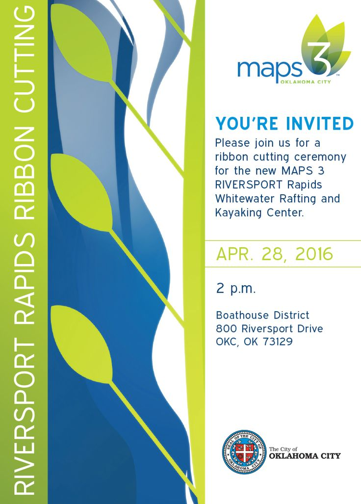 Postcard Invitation for OKC Maps Riversport Rapids Ribbon Cutting