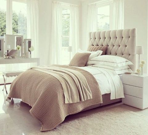 Tan and white bedroom