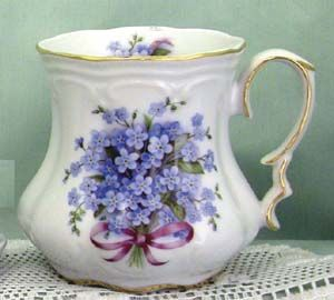 Some may debate this but I find tea tastes just as good in a mug, especially if it's as pretty as this Forget-Me-Not Victorian Mug