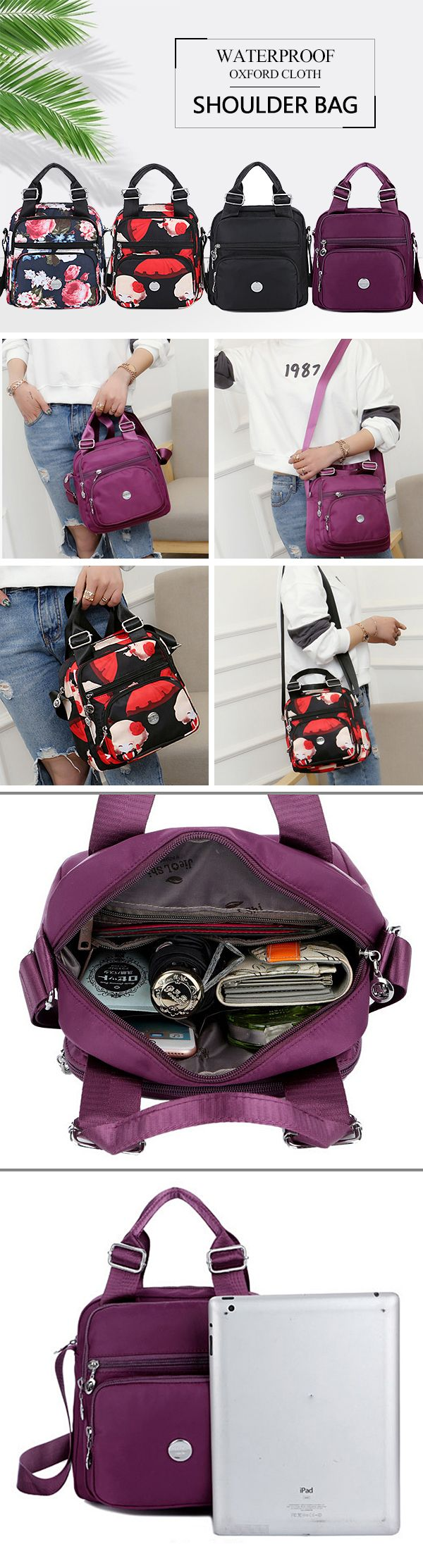 [$ 17.79]  Waterproof Oxford Cloth Women Handbag Crossbody Bag Shoulder Bag