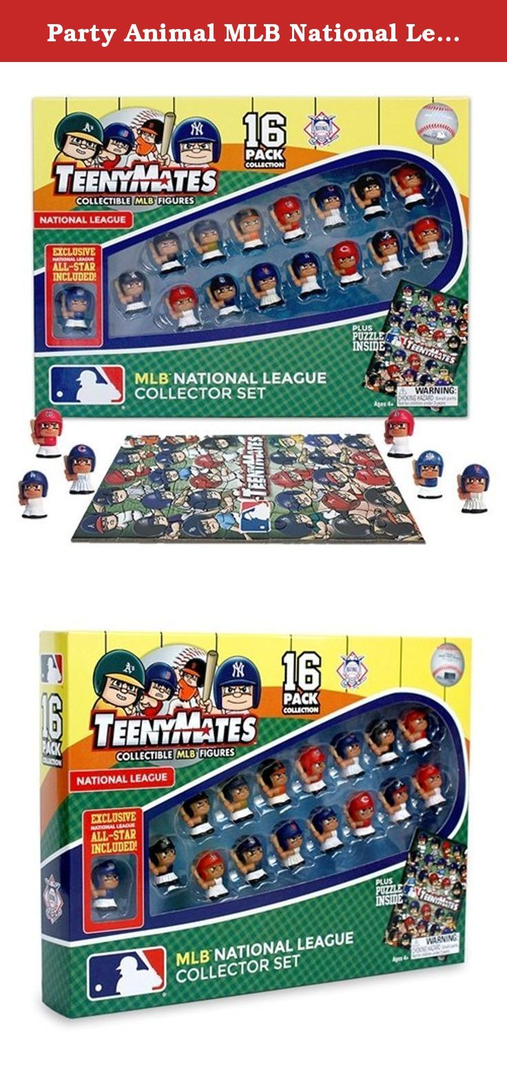 Party Animal MLB National League Teenymates (16 Pack). Now you can have all of your favorite League players with the TeenyMates Collector Set. All MLB National League Figures - 1'' Tall / 1 LTD Edition NL All-Star Player / 1 5x7'' 35-Piece Baseball Field Puzzle.