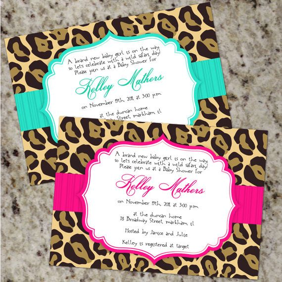 Chic LEOPARD Invitations  Baby Shower or any by Whirlibird on Etsy, $12.99