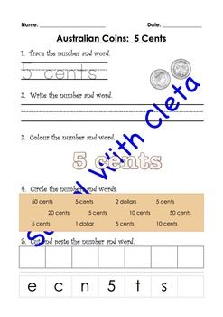 This series of worksheets are designed for a wide range of ages and to be repetitive and interactive for your children so that they can learn how to write the name of Australian coins in numbers and symbols (e.g. 5c), in numbers and words (e.g. 5 cents) and in words only (e.g.