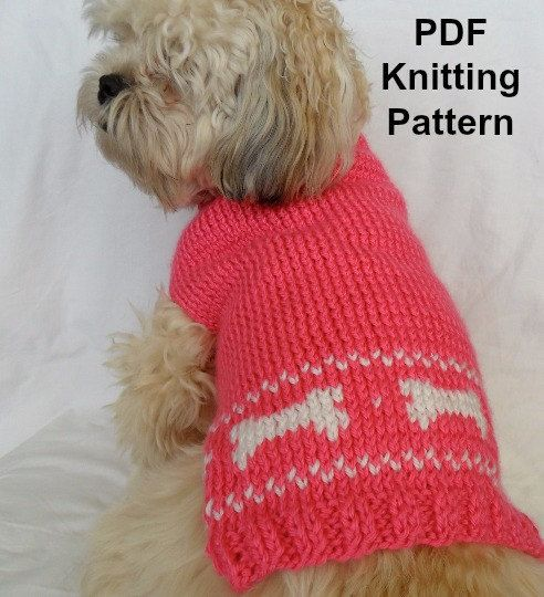 Knitted Patterns For Dog Sweaters : Cute dog sweater knitting pattern - PDF, small dog sweater, dog bones instant...