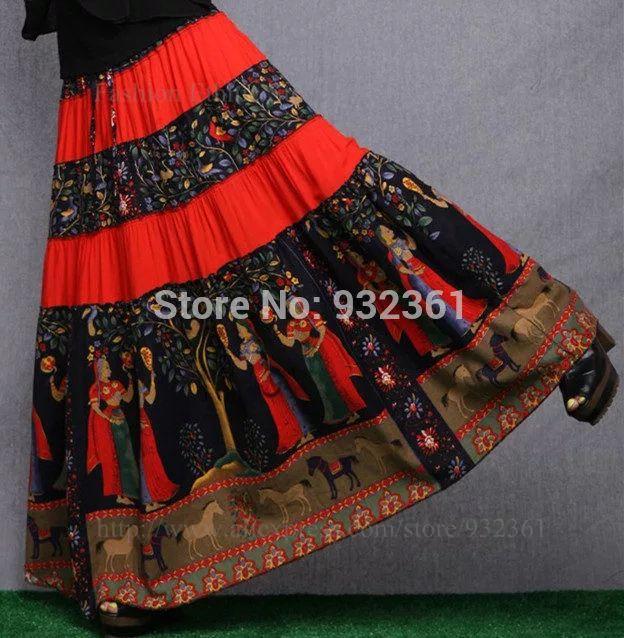 Винтажный принт макси юбка BOHO хиппи юбки женщин свободного покроя длинная юбка Saia лонга Saias femininas цвет, M L