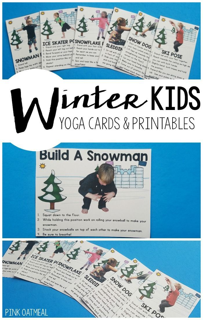 Kids yoga with a winter theme.  Great for a brain break, indoor recess, or physical therapy and occupational therapy.  #kidsyoga #wintergrossmotor #indoorrecess